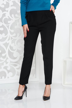 Fofy black office conical trousers with medium waist with pockets slightly elastic fabric