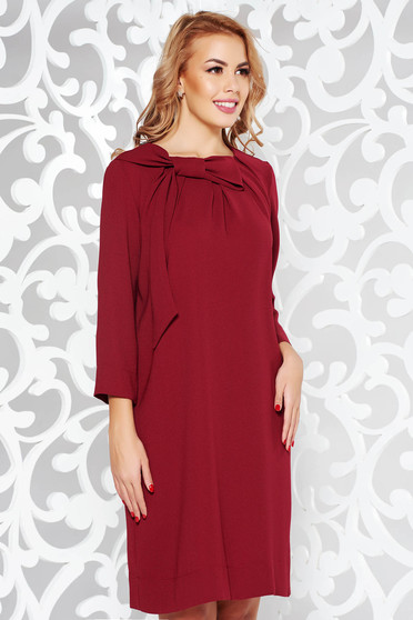 LaDonna burgundy dress elegant flared from non elastic fabric with 3/4 sleeves