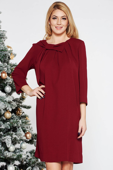 LaDonna burgundy elegant flared dress from non elastic fabric with 3/4 sleeves