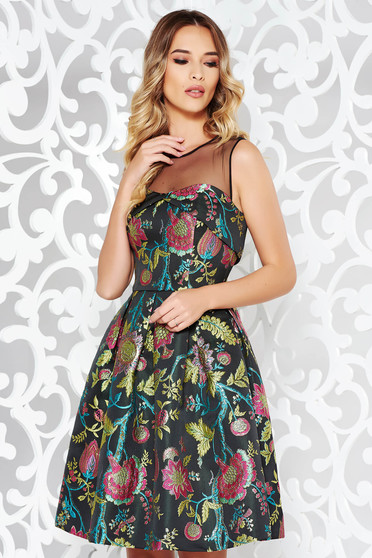 Black dress occasional cloche from jacquard with inside lining sleeveless