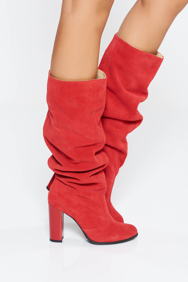 Red casual boots chunky heel natural leather