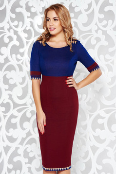 Burgundy office midi pencil dress from elastic fabric from soft fabric with inside lining