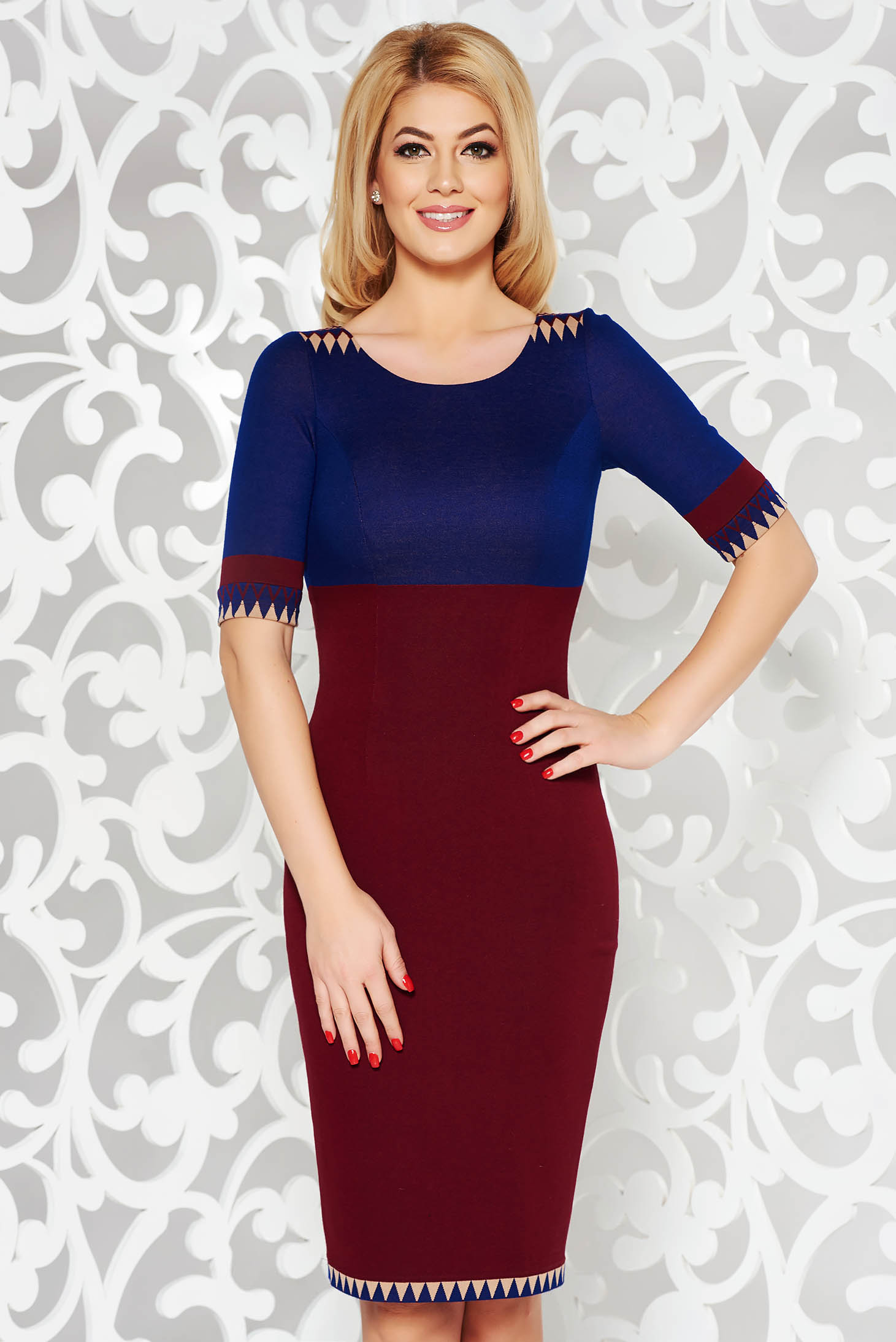Burgundy dress office pencil from elastic fabric from soft fabric with inside lining midi