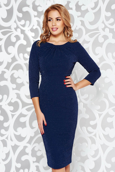 Darkblue dress elegant pencil from elastic fabric with inside lining with lame thread