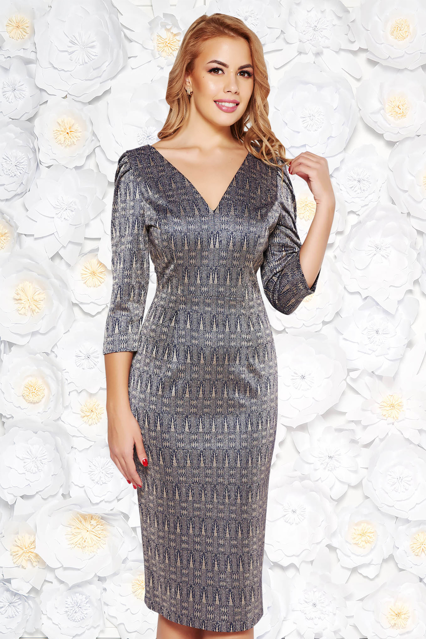 Darkblue pencil dress slightly elastic fabric with inside lining with v-neckline