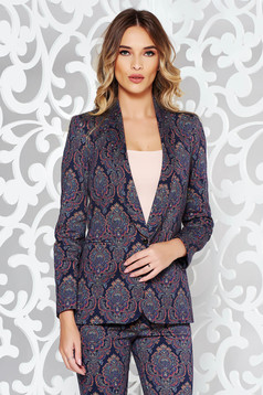 Darkblue jacket office arched cut slightly elastic cotton with inside lining with pockets