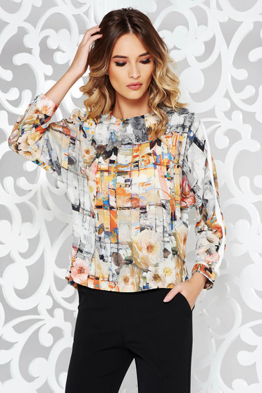 Grey women`s blouse office flared nonelastic fabric with floral prints