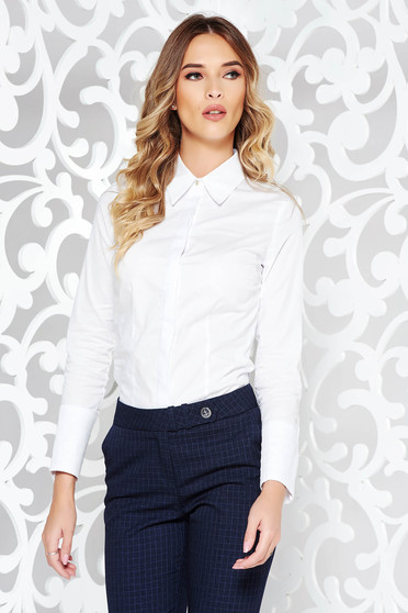 White women`s shirt office arched cut slightly elastic cotton long sleeved