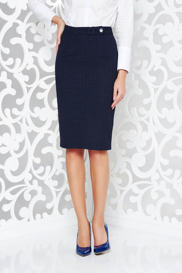 Darkblue skirt office pencil high waisted from non elastic fabric plaid fabric with inside lining