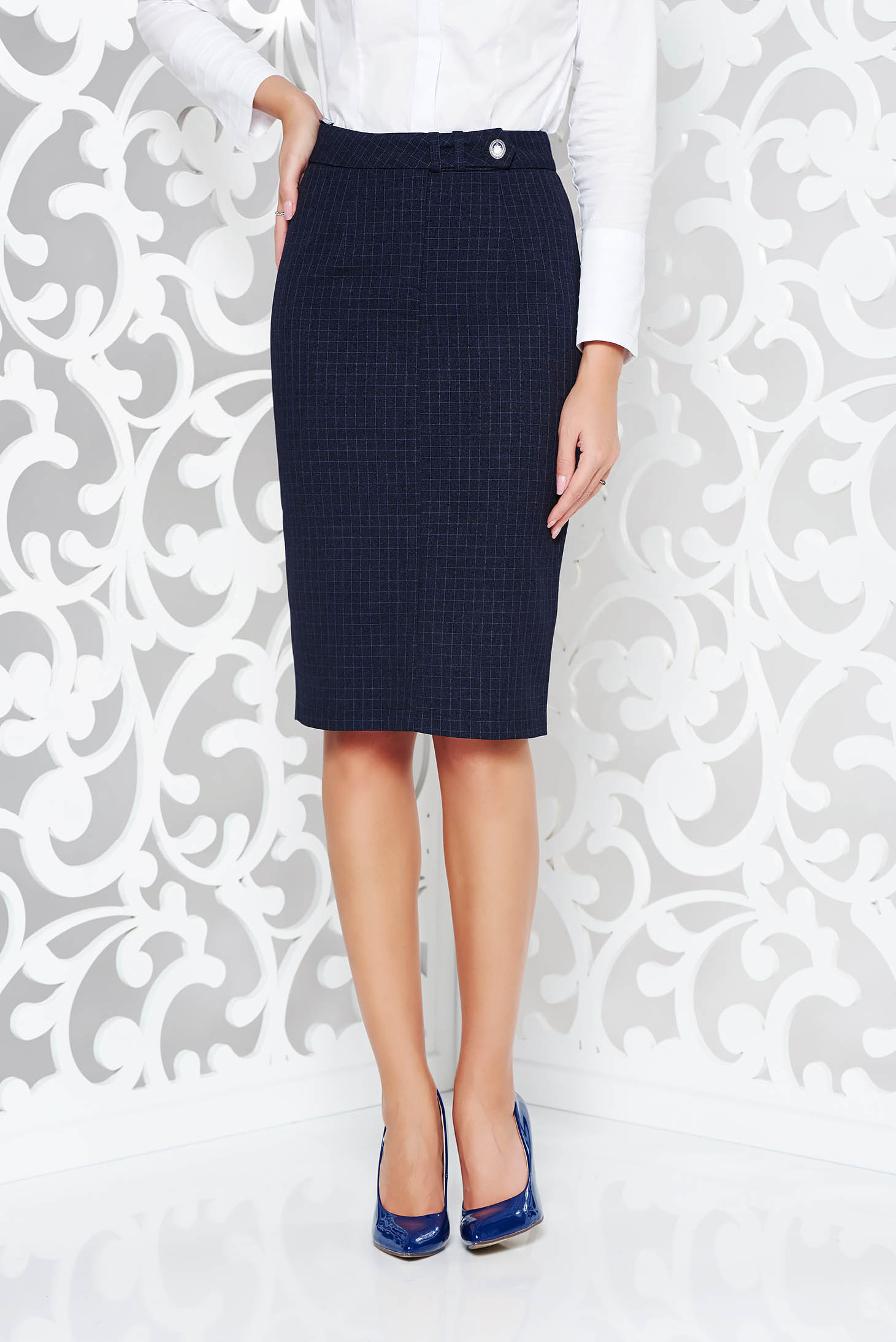 b60e4fabd6 Darkblue office high waisted pencil skirt from non elastic fabric plaid ...