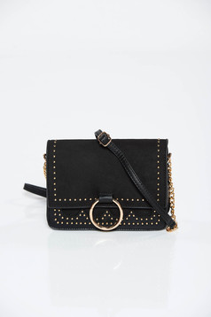 Black bag casual from ecological leather with metallic spikes
