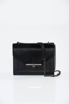 Black bag casual long chain handle