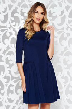 Darkblue dress office flared slightly elastic fabric with pockets