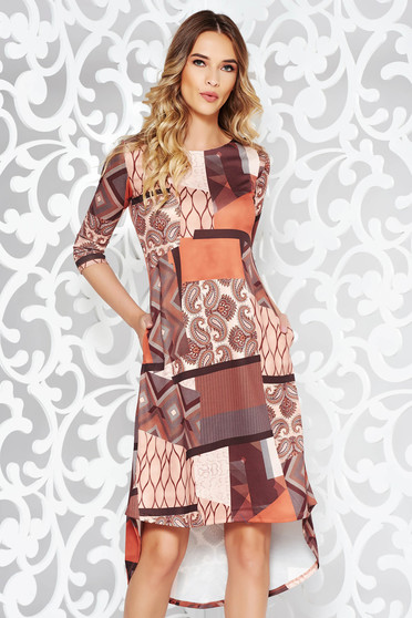 Brown dress casual flared asymmetrical with pockets slightly elastic fabric