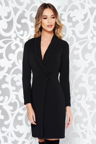 PrettyGirl black dress elegant blazer type slightly elastic cotton arched cut with small beads embellished details
