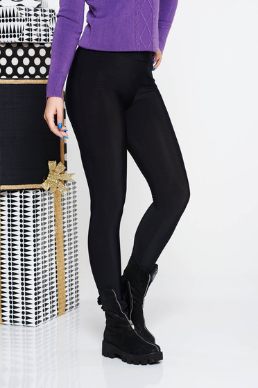 PrettyGirl black casual tights with tented cut high waisted from elastic fabric