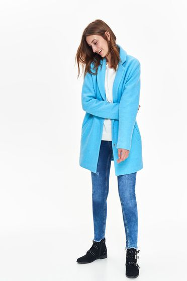 Top Secret blue casual straight coat long sleeve from thick fabric