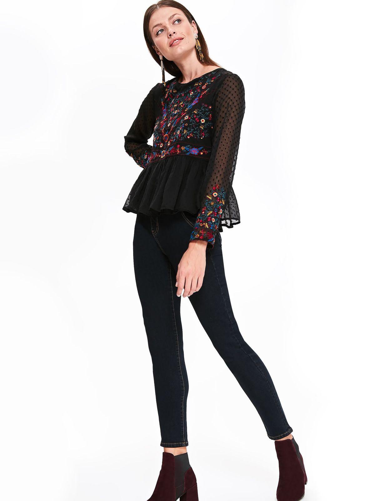 Bluza dama Top Secret neagra casual cu croi larg cu insertii de broderie
