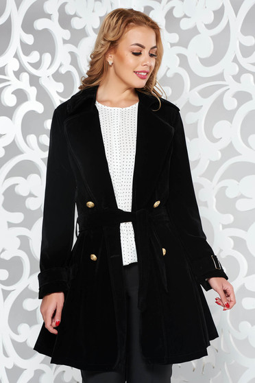 Black casual cloche long sleeve trenchcoat velvet accessorized with tied waistband