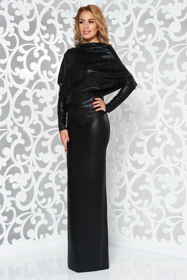 Black occasional long mermaid dress from shiny fabric bareback