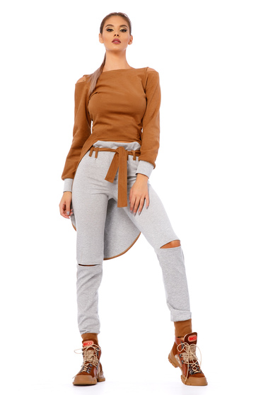 Brown casual from 2 pieces set with trousers slightly elastic cotton from velvet fabric