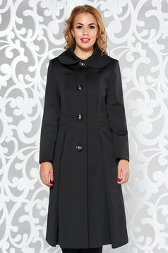 Black elegant cloche cotton trenchcoat long sleeve