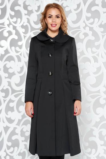 Black elegant cloche cotton trenchcoat long sleeve