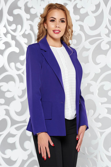 Purple office tented jacket long sleeved from non elastic fabric