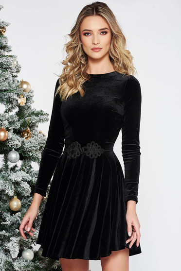 Artista black dress from velvet with embroidery details cloche occasional