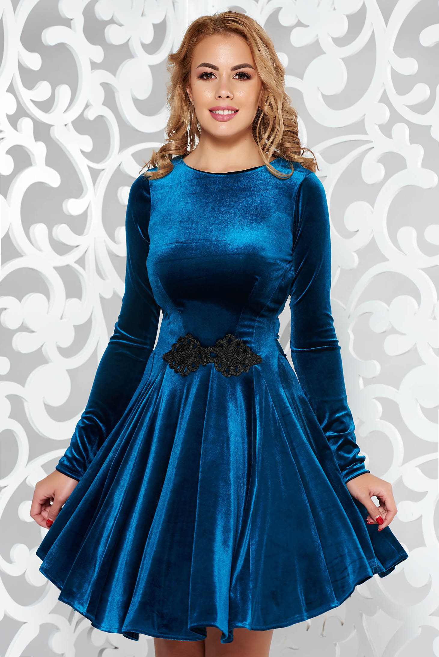 Artista turquoise dress from velvet with embroidery details cloche occasional