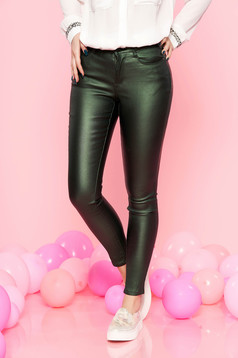 Top Secret green casual trousers with medium waist from shiny fabric with tented cut