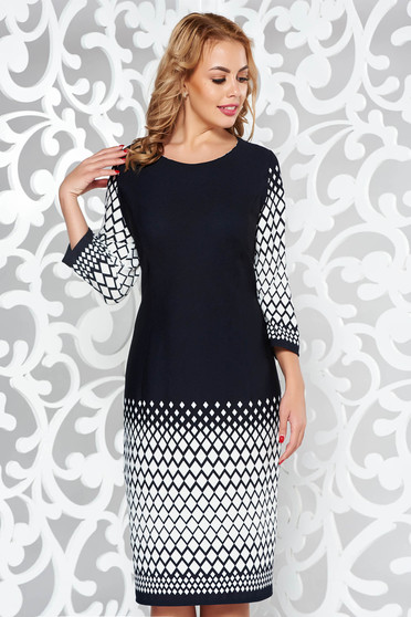 Black elegant pencil 3/4 sleeve dress from elastic fabric with print details