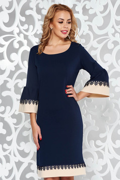 Darkblue elegant flared dress with lace details with ruffled sleeves