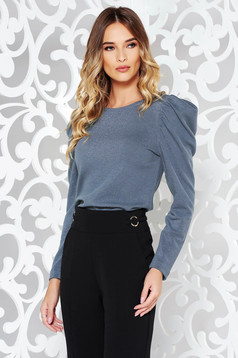 StarShinerS darkblue elegant sweater knitted fabric with puffed sleeves shimmery metallic fabric