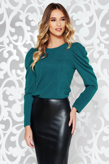 StarShinerS turquoise sweater elegant knitted fabric with puffed sleeves shimmery metallic fabric