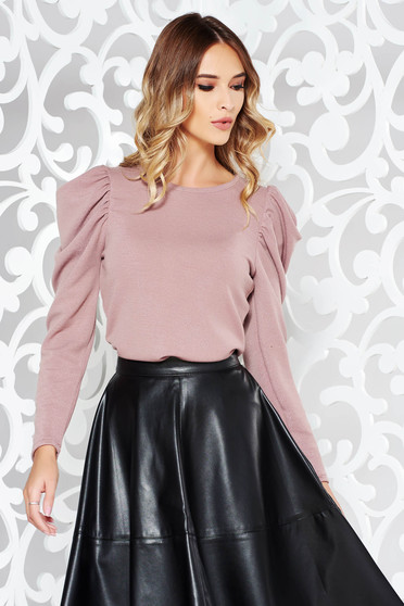 StarShinerS rosa sweater elegant knitted fabric with puffed sleeves shimmery metallic fabric