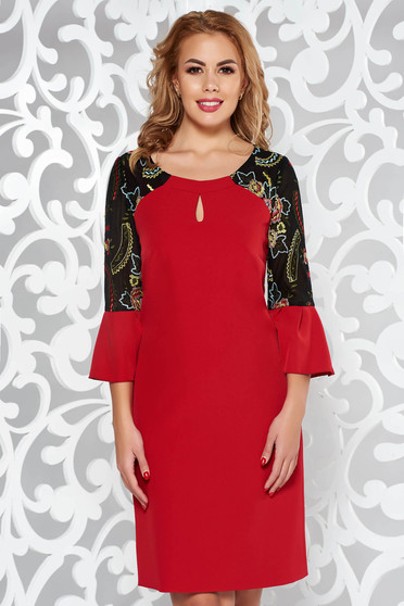 Red elegant 3/4 sleeve dress with bell sleeve slightly elastic fabric with embroidery details