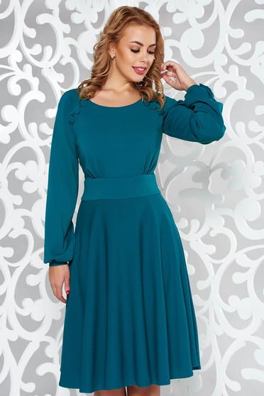 LaDonna green dress elegant cloche slightly elastic fabric with button accessories