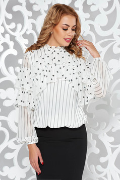 LaDonna white office flared women`s blouse voile fabric with inside lining with ruffle details