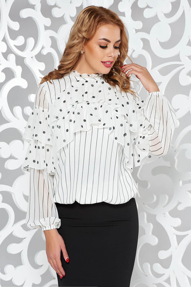 LaDonna white women`s blouse office flared voile fabric with inside lining with ruffle details