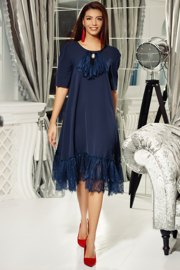Fofy darkblue dress elegant flared slightly elastic fabric with lace details
