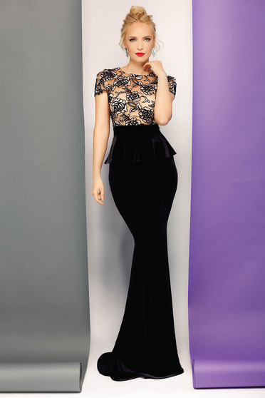 Fofy black dress occasional mermaid embroidered from velvet with frilled waist