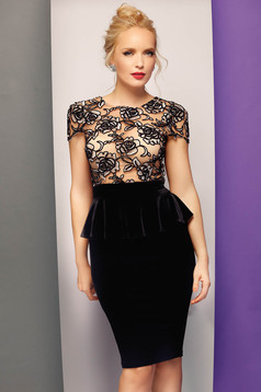 Fofy black occasional embroidered pencil dress from velvet with frilled waist