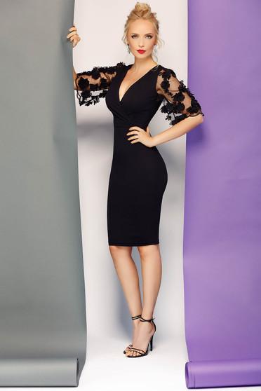Fofy black dress elegant pencil slightly elastic fabric with v-neckline with 3d effect