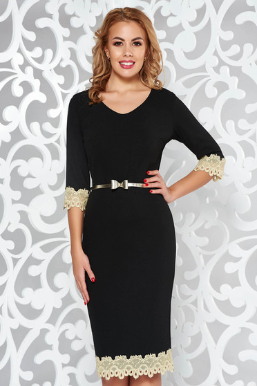 Black elegant pencil 3/4 sleeve dress with tented cut with lace details accessorized with belt