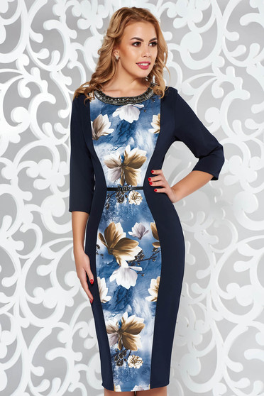 Darkblue dress elegant pencil slightly elastic fabric with small beads embellished details midi