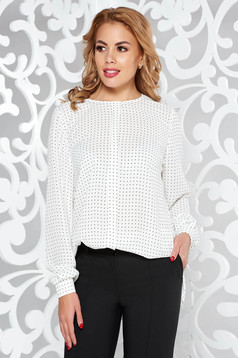 White women`s blouse office flared airy fabric long sleeved