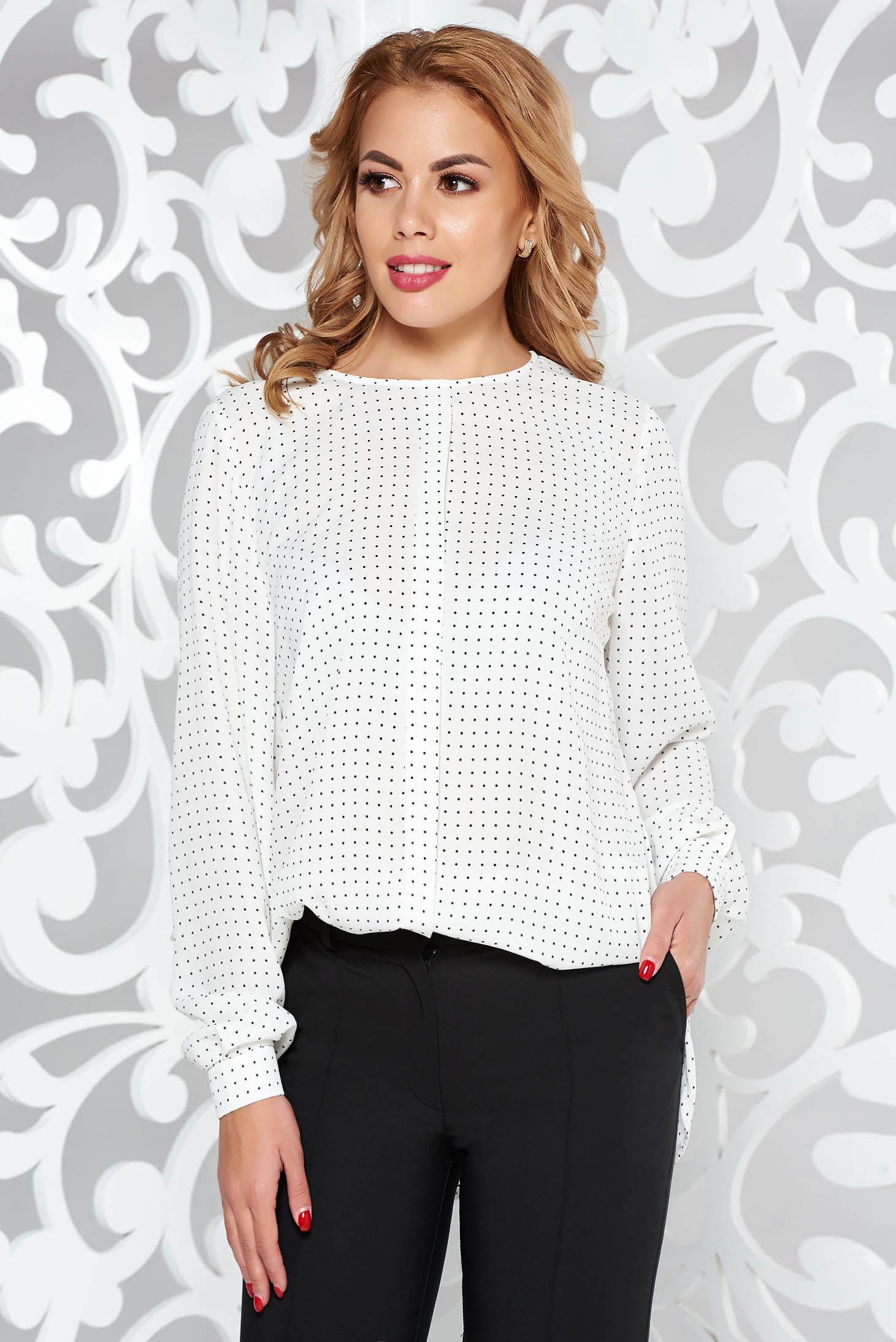 White office flared women`s blouse airy fabric long sleeved