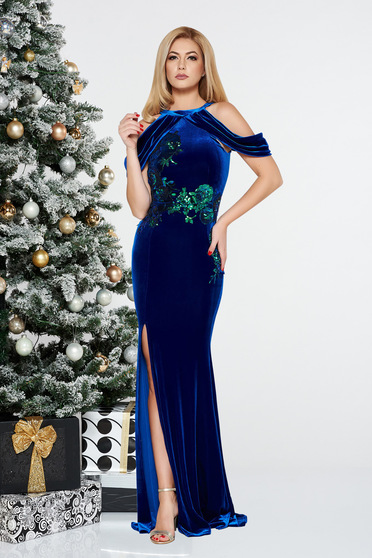 StarShinerS blue occasional mermaid velvet dress with sequins off shoulder