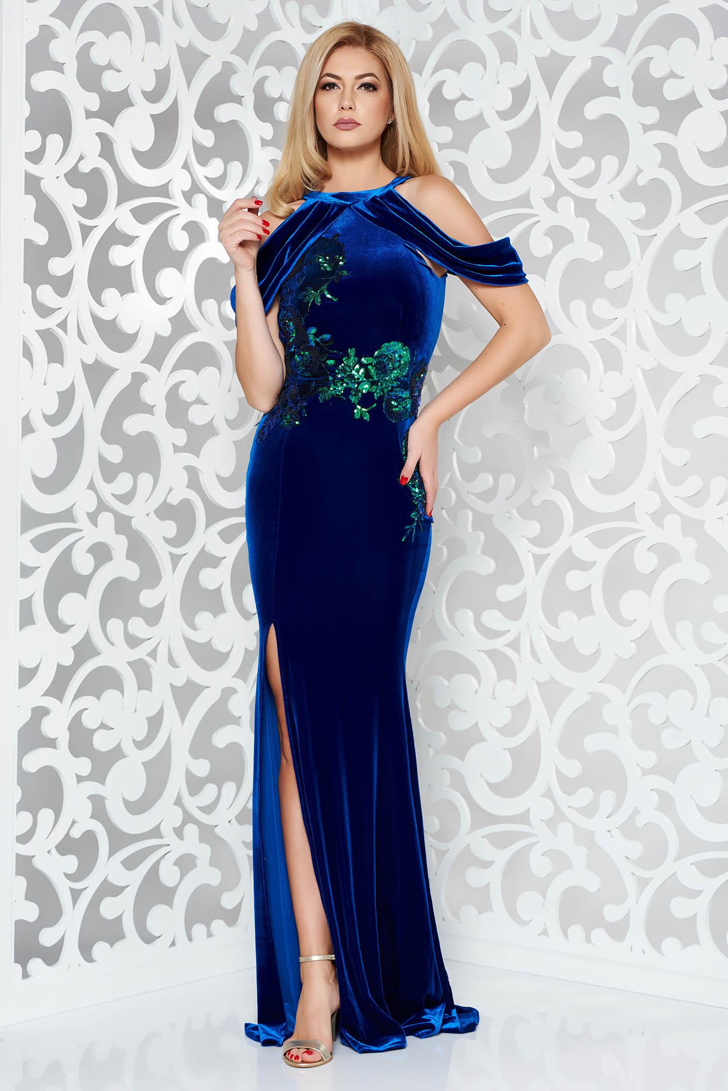 6ec41d6020 Kék StarShinerS alkalmi szirén tipusú bársony ruha flitter váll nélküli